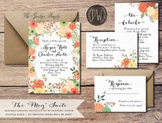Printable Wedding Invitation Suite floral wedding invite colorful rustic wedding calligraphy, DIY digital invitation set - Do it Yourself on Etsy, $45.00