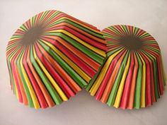 Bright Yellow Green Red Orange Black Stripe Sweet Dessert Cupcake Baking Cup Liners (50 QTY).