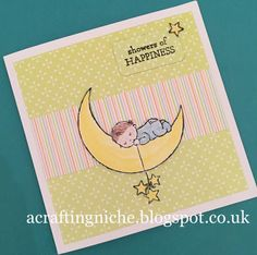 A Crafting Niche: Stampin' Up, Moon Baby - Baby Shower Card
