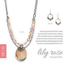 Love Pearls? Pastel Pink, Topaz, Silver Earrings, Swarovski Crystals, Lily, Feminine, Collections, Necklaces, Jewellery