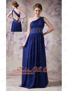 Fashionable Navy Blue Evening Dress Empire One Shoulder Chiffon Beading Brush Train