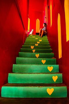 Petit Hotel Hafa in Sayulita, Riviera Nayarit, Mexico. Riviera Nayarit, Stair Art, Red Green Yellow, Stairway To Heaven, Mexican Style, World Of Color, House Colors, Decoration, Color Inspiration