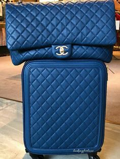💙💙 These pieces are on a class of its own 💙💙 [Chanel Diary 📷 by . ----------------------- Join our largest Chanel community to buy, sell, and chat about authentic Chanel! Tap the link in my bio! Chanel Luggage, Luxury Luggage, Luxury Bags, Luxury Handbags, Designer Handbags, Small Handbags, Handbags On Sale, Purses And Handbags, Cute Luggage