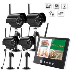 261.74$  Watch now  - 9 inch Digital 2.4G Wireless Cameras Audio Video Baby Monitors 4CH CCTV Quad DVR Security System With IR Night Light Cameras