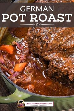German Pot Roast German Pot Roast is a classic comforting, that's rich and hearty with onions, carrots, German mustard, and dark beer. Beef Pot Roast, Roast Beef Recipes, Meat Recipes, Crockpot Recipes, Cooking Recipes, Game Recipes, Easy Pot Roast, Roast Gravy, Recipies