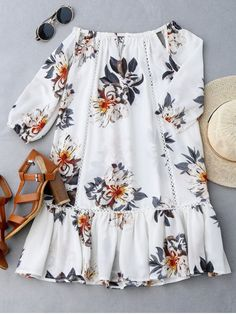 White Fall and Spring No Floral Ruffles Mini Off Straight Casual and Going Brief Cut Out Floral Print Ruffle Hem Dress Simple Dresses, Cute Dresses, Casual Dresses, Summer Dresses, Cute Outfits, African Fashion Dresses, African Dress, Fashion Outfits, Trendy Fashion