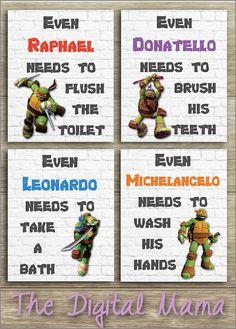 Ninja Turtles Bathroom Art  Wall Art Home Decor  by TheDigitalMama