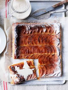 Apple and cinnamon tarte fines with cinnamon crème anglaise