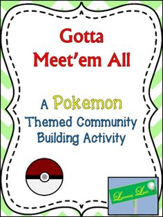 """This is a game based on Pokemon cards.  Students create a """"card"""" and tell their classmates about themselves. Then they hide their cards and go on a hunt to find their classmate's cards.  This is a fun low tech, no tech way to build community in your classroom."""