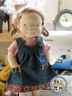 Little girl dress with pockets and straps, made in jean-like material by Lalinda