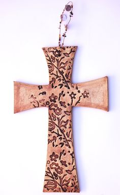 Stoneware Wall Cross with Beaded Wire Hanger by jburkepottery, $40.00