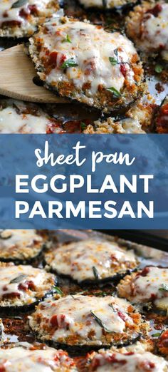 Sheet Pan Eggplant Parmesan Sheet Pan Eggplant Parmesan is my favorite eggplant recipe that is made by baking breaded eggplant slices on a sheet pan until perfectly golden and then topping them with robust tomato sauce and lots of melty mozzarella cheese. Vegetable Recipes, Vegetarian Recipes, Cooking Recipes, Healthy Recipes, Ovo Vegetarian, Baked Breaded Eggplant, Baked Eggplant Slices, Eggplant Dishes, Cooking Eggplant