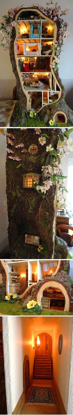 Amazing Miniature Mouse Tree Doll House.   Don't know why, but I just had to pin this - it made me smile.
