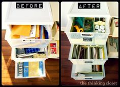Craft Drawer Organization for the Budget Savvy. put dividers in plastic drawers.