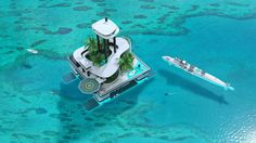 This man-made private island has a penthouse, helipad, and shark-feeding station