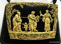 Vintage Brooch Pin SIGNED MFA Museum of FINE Arts Greek Revival Figural Gold ton