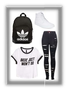 """Basic just won't do"" by atrabiliousx on Polyvore featuring Vans, H&M, 2LUV and adidas Originals"