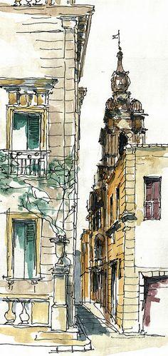 Mdina Malta Watercolor by Jochen Schittkowski Watercolor City, Watercolor Sketch, Watercolor Landscape, Watercolor Portraits, Watercolor Flowers, Watercolor Painting, Watercolor Architecture, Architecture Drawings, Art Sketches
