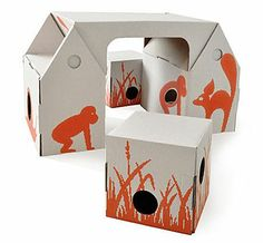 Bo Buro Cardboard Desk Set by Kidsonroof Cardboard Playhouse, Cardboard Toys, Cardboard Furniture, Kids Furniture, Kids Table And Chairs, Kid Table, Kid Desk, Desk Set, Childrens Desk