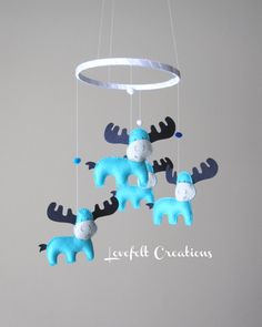 READY ITEM - Baby Mobile - Moose Mobile -  Custom Mobile - Baby Mobile - You can pick your colors :) on Etsy, $96.11 CAD