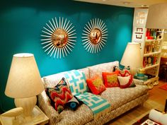 Jonathan Adler show room with Benjamin Moore surf blue paint.