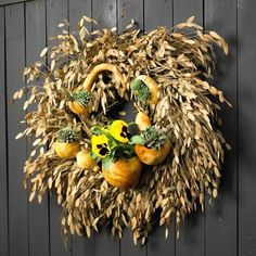 oats and gourd fall wreath - Google Search