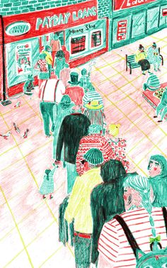 Mouni Feddag/ Week 2 Coloured Pencils/ Eduardo/ UK/ unknown date/ coloured pencils/ the simplification of the bodies along with the scratchy quality of the lines makes this illustration very cute and childish. She uses very interesting colours of green and red and there is lot of detail in order to picture this narrative