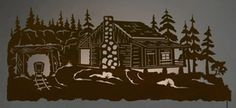 "57"" Miners Cabin Scenic LED Back Lit Lighted Metal Wall Art"