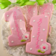 Number One Birthday Cookie Favors - 12 Personalized Decorated Cookies.via Etsy.