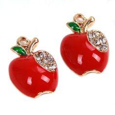 100pcs Red Enamel Gold Plated Rhinestone Apple Charms Alloy Pendant Handcrafts J