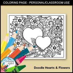 Hearts & Flowers Coloring Page