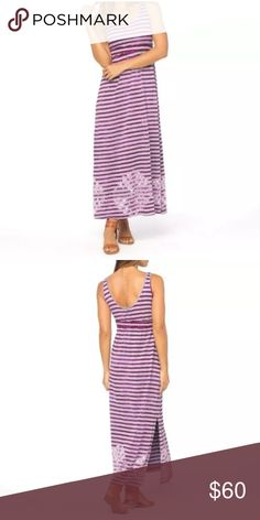 PrAna Adrienne Purple Gray Stripe Dress Tie Dye New with tags Prana Adrienne tank maxi dress in color fuchsia, which is a purple and gray stripe with a tie dye design over top. Size Medium, split on either side of the hem. Prana Dresses Maxi