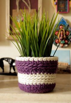 Crochet Plant Pot Cover  felted wool by petitacosa on Etsy