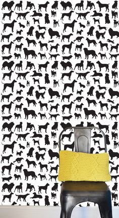 "Dog Frenzy Removable Wallpaper Kids Room Art - Spruce up any dull wall, cover the back of book shelves, brighten a dingy door, or cover a table top! - Includes one 24"" x 48"" tile. - 100% polyester fab"