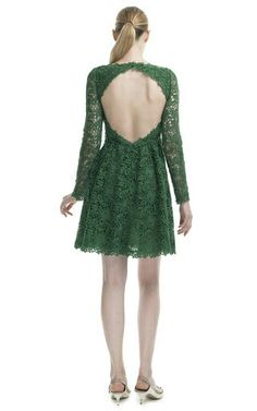 Valentino - Emerald Backless Lace Dress ($5,980) (c)