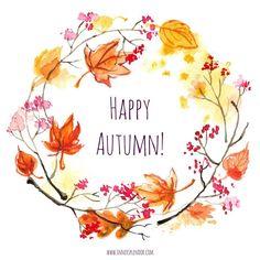 Watercolor Cards, Watercolor Flowers, Watercolor Paintings, Wreath Drawing, Autumn Art, Leaf Art, Hello Autumn, Fall Wreaths, Happy Fall