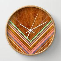 Wall Clocks featuring Aztec Arbutus by Jenny Mhairi