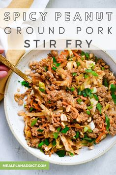 Easy Spicy Peanut Ground Pork Stir Fry by Meal Plan Addict. Spicy peanut ground pork stir fry is an ultra easy, 15 minute dinner, jam packed with crunchy veggies and the most simple sauce you will ever make! Get more Easy Dinner Recipes at www.mealplanaddict.com #mealplanaddict #easydinner Stir Fry Recipes, Pork Recipes, Lunch Recipes, Easy Dinner Recipes, Asian Recipes, Healthy Recipes, Quick Weeknight Dinners, Quick Meals