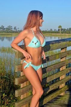 Sporty Girl Apparel - TOP-mint triangle bikini top with metallic brown deer skull , $33.95 (http://www.sportygirlapparel.com/top-mint-triangle-bikini-top-with-metallic-brown-deer-skull/)