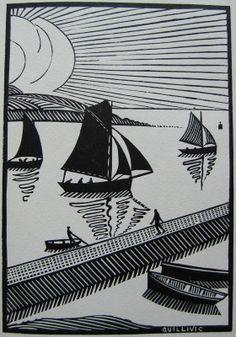 Marine Bretonne - des bois gravés 1922 - René Quillivic (1879-1969, France)