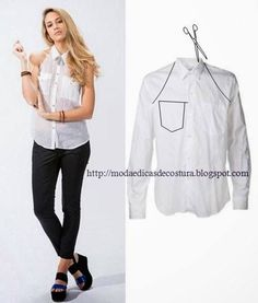 Repurpose Old Shirts into tops repurpose or restyle men's shirts into something new such as tops, dresses for ladies or family. Shirt Refashion, Diy Shirt, Diy Vetement, Diy Tops, Old Shirts, Refashioning, Clothing Hacks, Sewing Clothes, Sewing Men