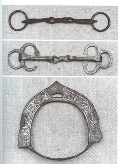 11th Century Novgorod, Russia - bits and inlaid stirup.