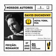 """David Duchovny é ator, roteirista, produtor, diretor, escritor, compositor e cantor. Ele é mais conhecido por seu papel como o agente Fox Mulder no seriado de TV Arquivo X, e como o escritor HankMoody na série Californication, ambas atuações premiadas com o Globo de Ouro. David é bacharel em Literatura Inglesa pela Universidade de Princeton e mestre em Literatura Inglesa pela Universidade de Yale.  """"Holy Cow"""" é o livro de estreia de David Duchovny."""