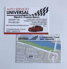 Tarjetas de visita, doble cara plastificado mate - Auto Servicio Universal