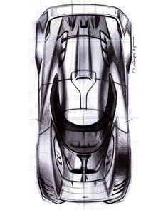 Top view pen sketch of the Ultima GTR based one-off sports car concept. #cardesign #sketch #ultimagtr #ultimagtrbuild #portfolio #sportscar