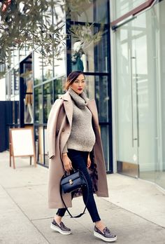 Pregnant Street Style: 35 stylish maternity outfit ideas that prove you can still look chic as a mama-to-be! @stylecaster