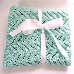 Hand Knit Baby Blanket #Blue Baby Blanket Knitted Baby Afghan #baby #gift #handmade