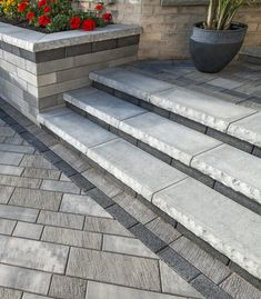 Ideas For House Entrance Exterior Stairs Walkways Patio Stairs, Front Stairs, Exterior Stairs, Front Walkway Landscaping, Backyard Landscaping, Landscaping Ideas, Paver Walkway, Front Porch Steps, Concrete Front Steps