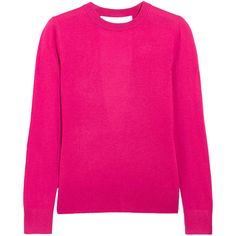 MICHAEL Michael Kors Cutout knitted sweater ($88) ❤ liked on Polyvore featuring tops, sweaters, pink, fuschia top, pink top, pink sweater, cut-out sweaters and fuschia pink tops