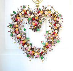 Kitchen heart  wreath   red pink cream yellow   by laurelsbylaurie, $55.00